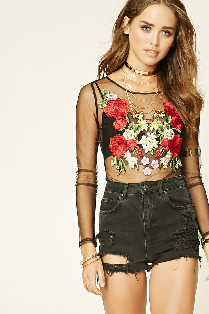 A semi-sheer mesh bodysuit featuring a floral embroidery, round neckline, long sleeves, and snap-button closure.