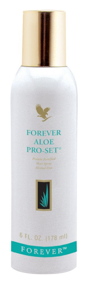 Forever Living - Forever Aloe Pro-Set. Alcohol-free, protein rich formula that strengthens, conditions and moisturises whilst providing a long-lasting natural hold. Purified water and stabilised aloe vera replenish lost moisture and protect hair whilst styling and straightening. http://www.beforeverfree.myforever.biz/store