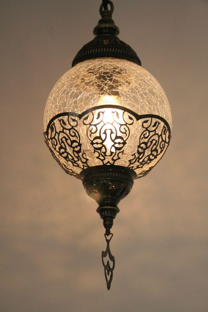 Large Turkish Ottoman Moroccan Craquelure Glass Round