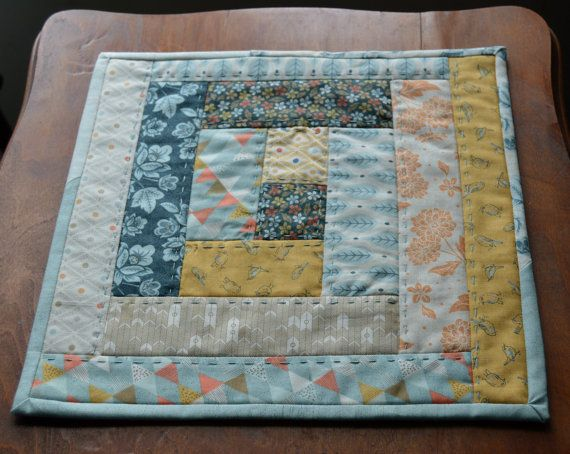Table top quilt quilted candle mat quilted by aSummerSwallow