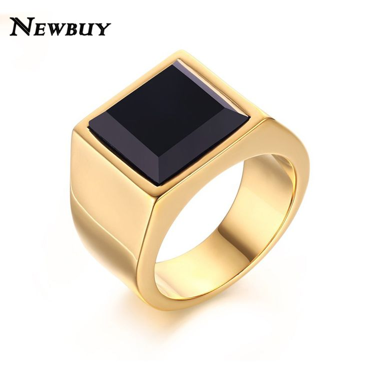 Barato NEWBUY Marca Hot Sale Preto Ágata Pedra Homens Anel de Casamento de Luxo Banhado A Ouro Estilo Punk Jóias Anel Para O Sexo Masculino, Compro Qualidade Anéis diretamente de fornecedores da China:       NEWBUY 2016 New Colorful Big Rhinestone Women Ring Silver Plated Stainless Steel Female Jewelry High Polished Best