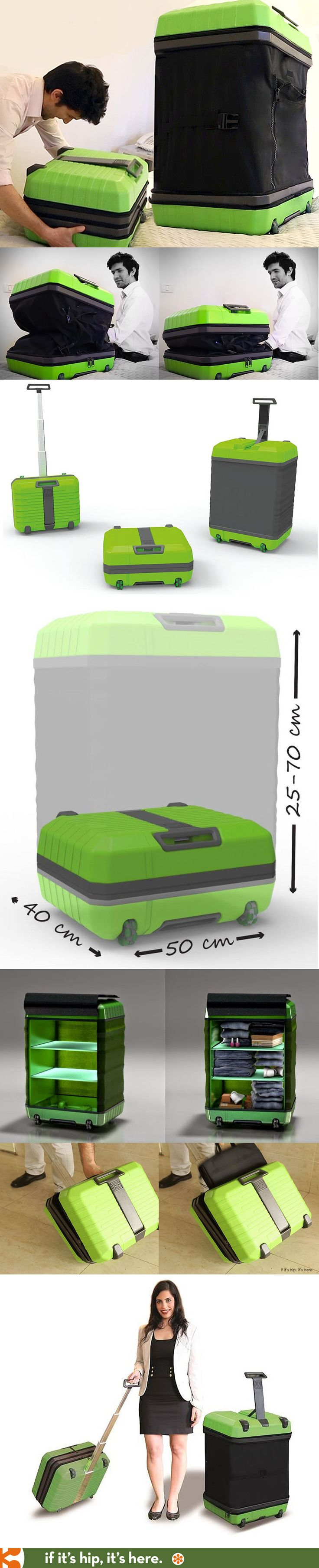 FUGU - revolutionary expanding luggage that goes from a carry-on into a check-in piece of baggage in seconds. | http://www.ifitshipitshere.com/fugu-expandable-luggage/