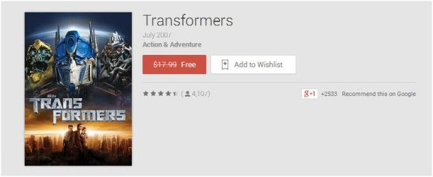 The original Transformers movie in HD is free in Google Play right now along with Cold Play's Ghost Stories - https://www.aivanet.com/2015/03/the-original-transformers-movie-in-hd-is-free-in-google-play-right-now-along-with-cold-plays-ghost-stories/