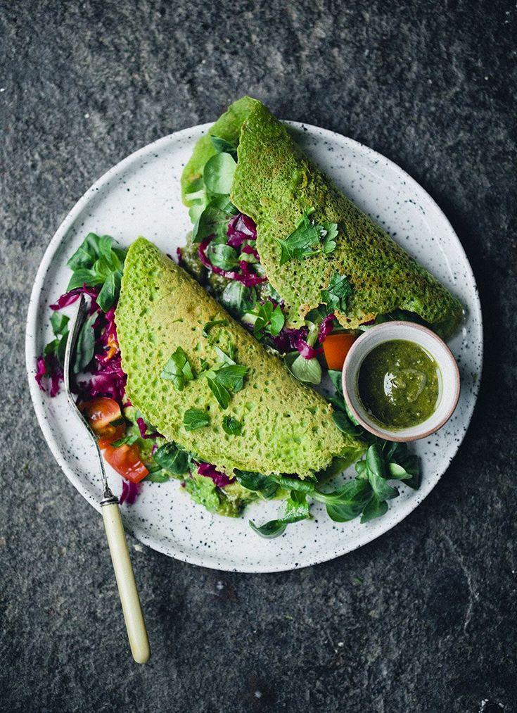 Green Vegan Chickpea Pancakes