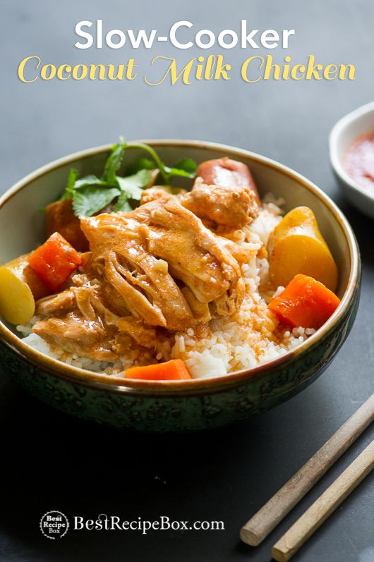 Easy Asian coconut milk chicken stew in a slow cooker or crock pot. This chicken recipe is cooked in a slow cooker with fresh ginger for a rich broth