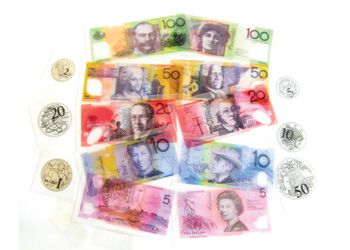 Overhead Australian Money This 64-piece set includes beautiful replicas of Australian notes and coins. Excellent as an overhead resource to get the whole class participating.