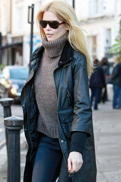 How to Wear a Barbour Jacket Claudia Schiffer Barbour Wax Jacket English Country Chic Style-1