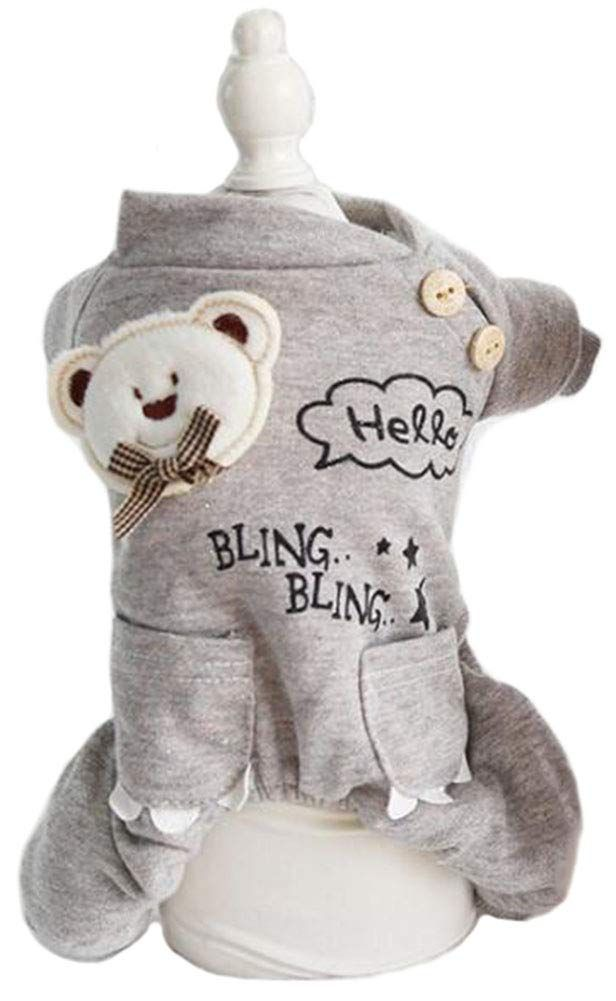 49caa8e62a7d MaruPet Winter Pet Clothes for Dogs Coat Spring and Autumn Printed FourLegs  Sweatshirt Warm BearCoat Gray XS     Continue to the product at the image  link.