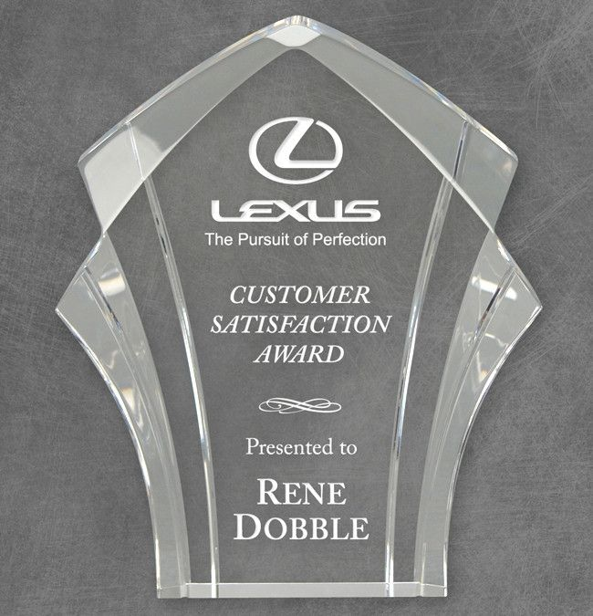 "Our Panache Acrylic Award features an intriguing cut of 1"" thick acrylic with an area for laser engraving for personalization. 84406 is 6"", 84407 is 7"" & 84408 is 8"" tall, all include free engraving."