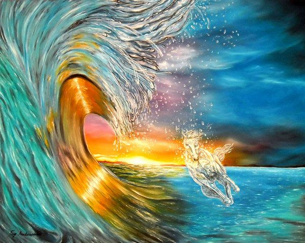 Poster,  colorful,ocean,scene,waves,seascape,sunset,sunrise,nature,big,high,water,rough,wild,crashing,breaking,horse,running,light,crystal,fantasy,beautiful,multicolor,blue,gold,golden,bright,impressive,image,fine,oil,painting,contemporary,scenic,modern,virtual,deviant,wall,art,awesome,cool,artistic,artwork,for,sale,home,office,decor,decoration,decorative,items,ideas