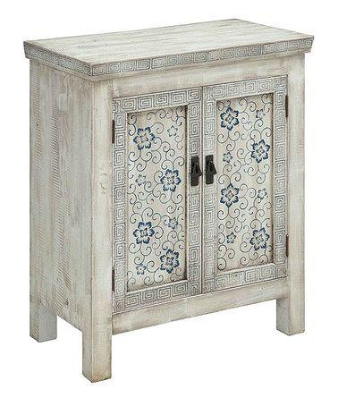 Look at this #zulilyfind! White & Blue Joyceville Two-Door Cabinet #zulilyfinds