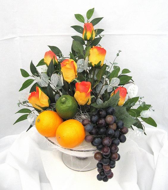 fruit floral arrangements   fruit and flower arrangement  