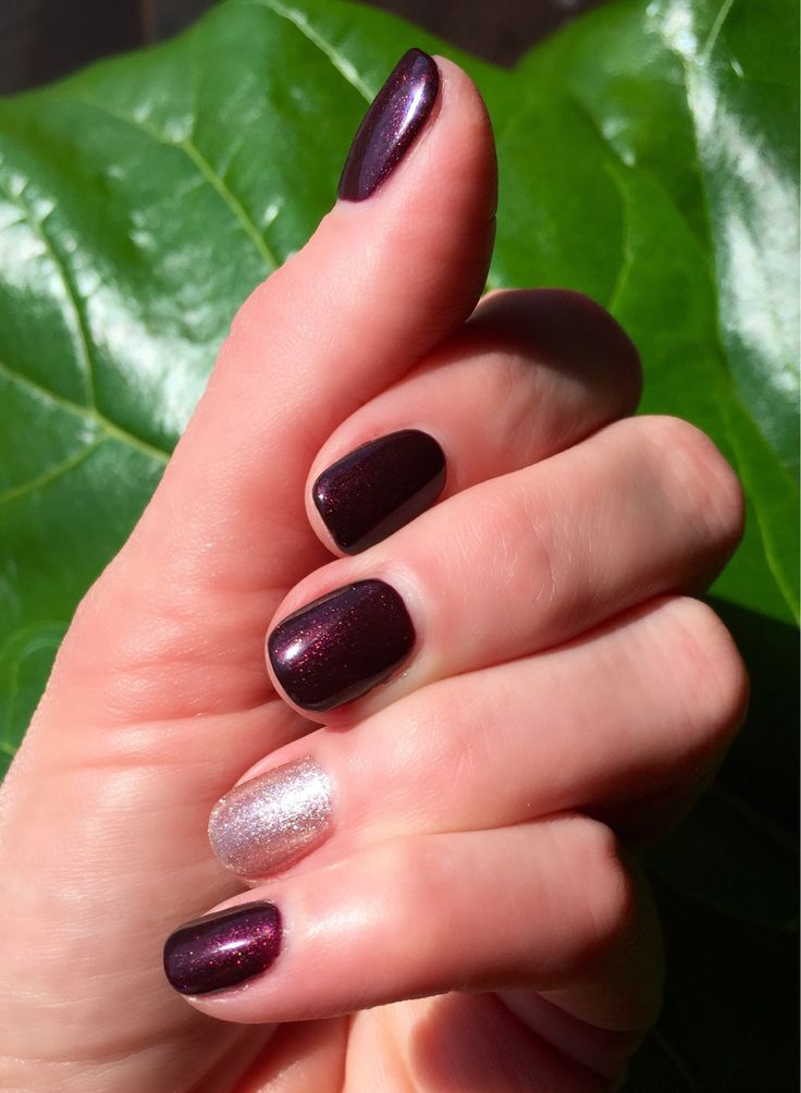 CND Shellac Dark Lava over Dark Dahlia w/Safety Pin accent nail #cnd #shellac…