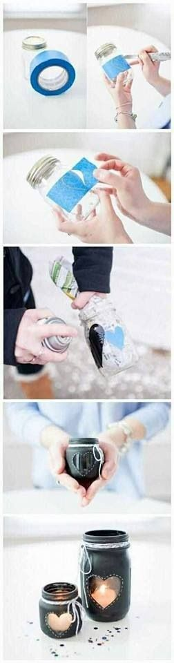 Mason Jar candle holder...cute for a wedding or just to decorate the house