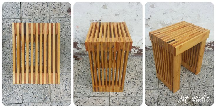 Stool from recycled pallets.