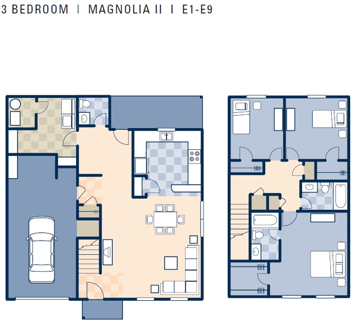 gulfport magnolia ii neighborhood 3 bedroom duplex floor plan