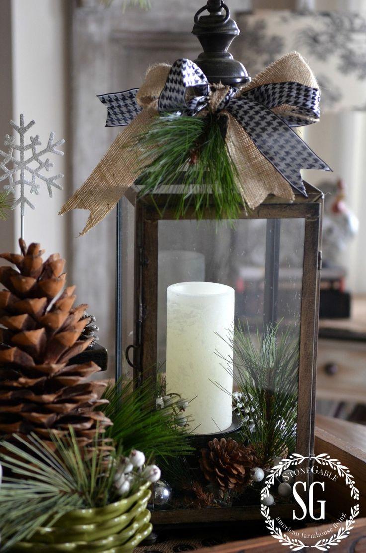 FARMHOUSE CHRISTMAS VIGNETTE-lantern with greens-stonegableblog.com