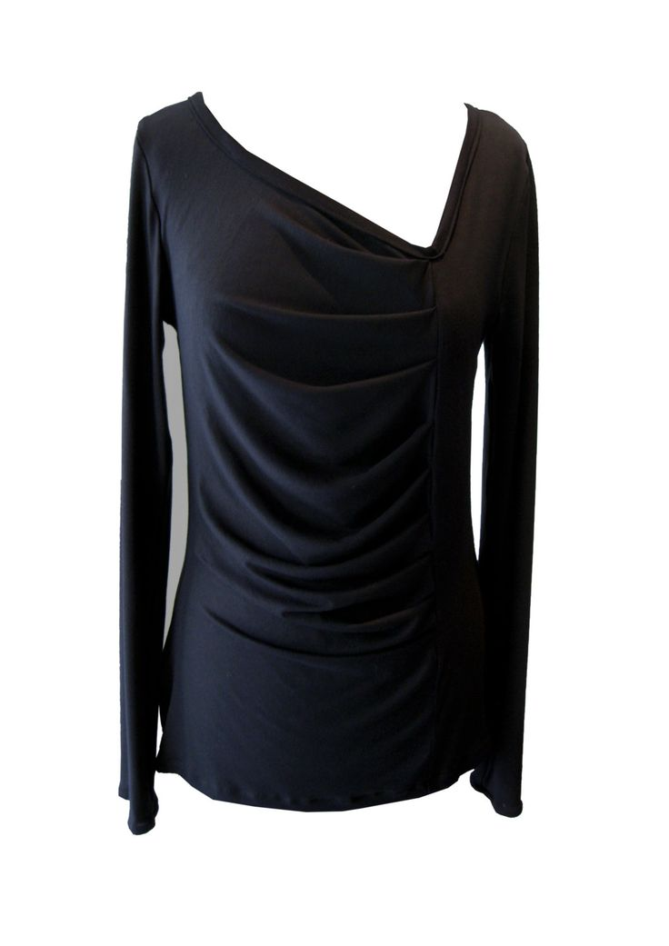Black Asymmetrical Shirt Plus Size Shirt Black Pleated by tamarziv