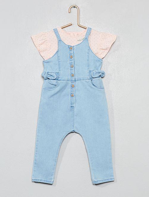 af3c6c012 Conjunto de 2 piezas con peto y camiseta azul rosa Bebé niña - Kiabi