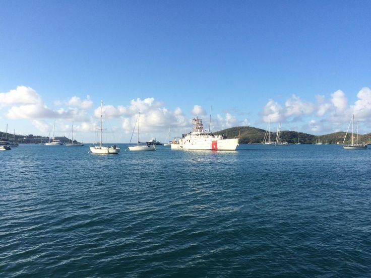 U.S. Coast Guard pulling into St. Thomas. [1132x640][oc]