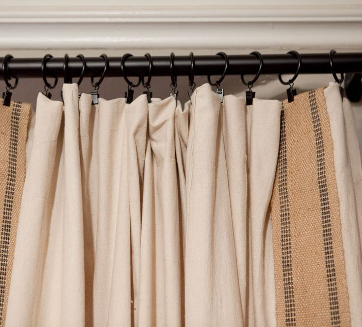 How to Decorate With Drop Cloths - interior curtains ... french look ... upholstery webbing to add dimension and texture