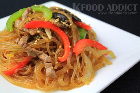Korean noodles with vegetables [Japchae]