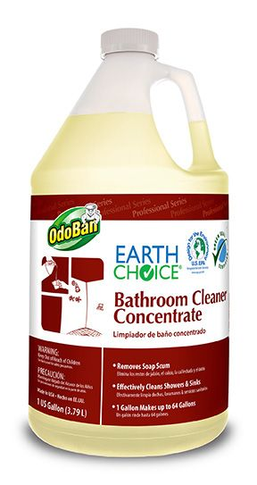 Earth Choice by OdoBan Bathroom Cleaner GALLON CONCENTRATE  Removes Soap Scum Elimina los restos de jabón, el calcio, la cal lechada y el óxido   Effectively Cleans Showers  Sinks Efectivamente limpia duchas, lavamanos  servicios sanitarios   1 Gallon Makes up to 64 Gallons Un galón rinde hasta 64 galones
