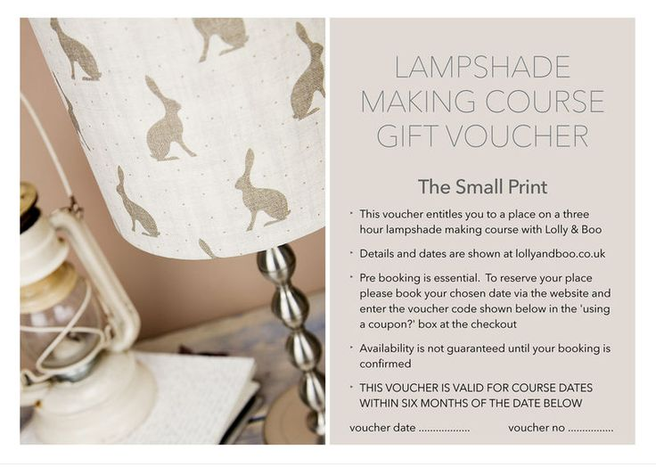 86 best Lampshade Workshops images on Pinterest Workshop - print your own voucher