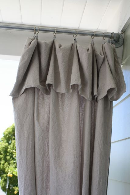 "fold over top of drop cloth for a pretty ""ruffle"" effect curtain 