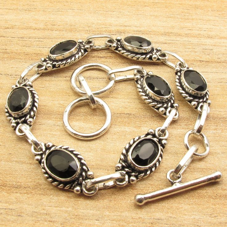 Men's Ancient Style Bracelet,  Silver Plated Oval BLACK ONYX Jewelry 7 7/8""