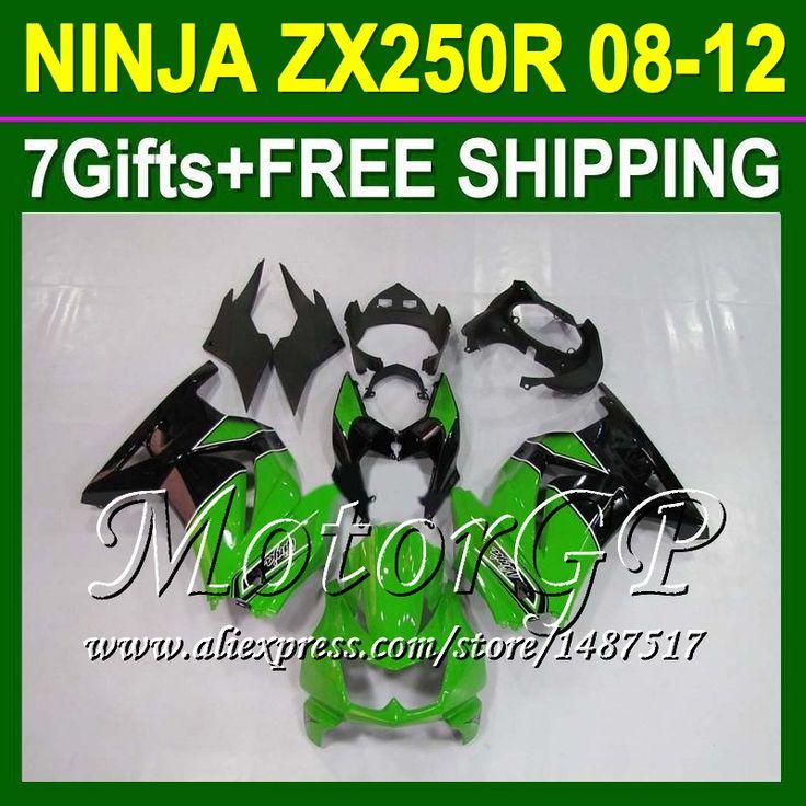 Купить товар7 подарки + для Kawasaki Ninja 250R 2008 зеленый черный 2009 2010 2011 2012 16 #107 ZX250R ZX 250 ZX250 08 09 зеленый 10 11 12 обтекателя в категории Щитки и художественная формовкана AliExpress.