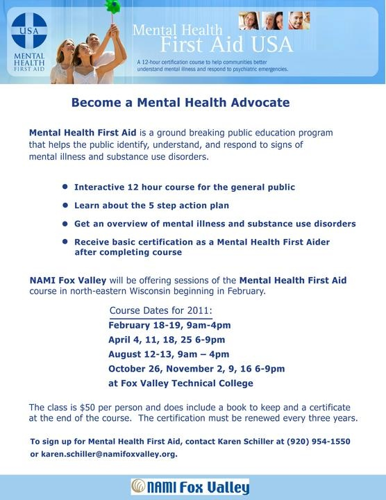 Flyer Designed For Nami Fox Valley S Mental Health First Aid Program