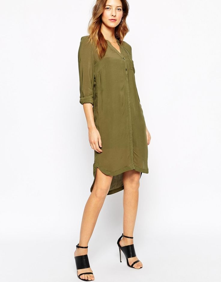 Vero Moda Khaki Shirt Dress