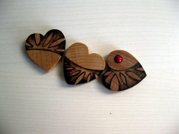 Wooden Magnets - Leafy Hearts, Pyrography Design, Modern Design, Woodburned, Valentine's Day