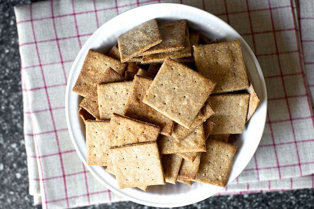 Homemade wheat thins by Smitten Kitchen - they are quick & delicious - you will hardly ever buy them again.