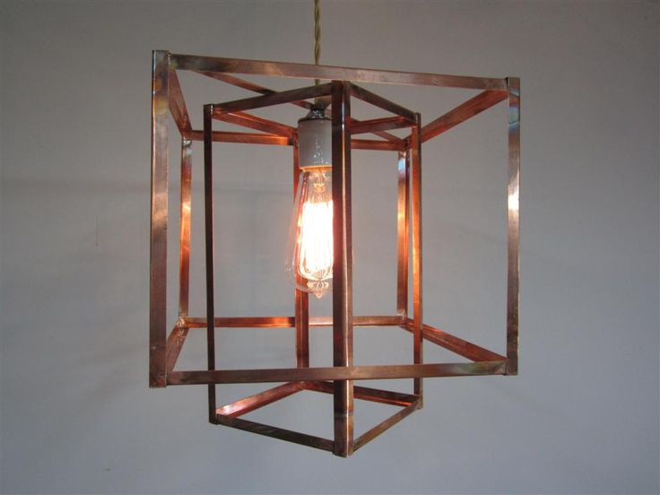Industrial Geometric Copper Hanging Pendant Light Chandelier On Etsy, Sold