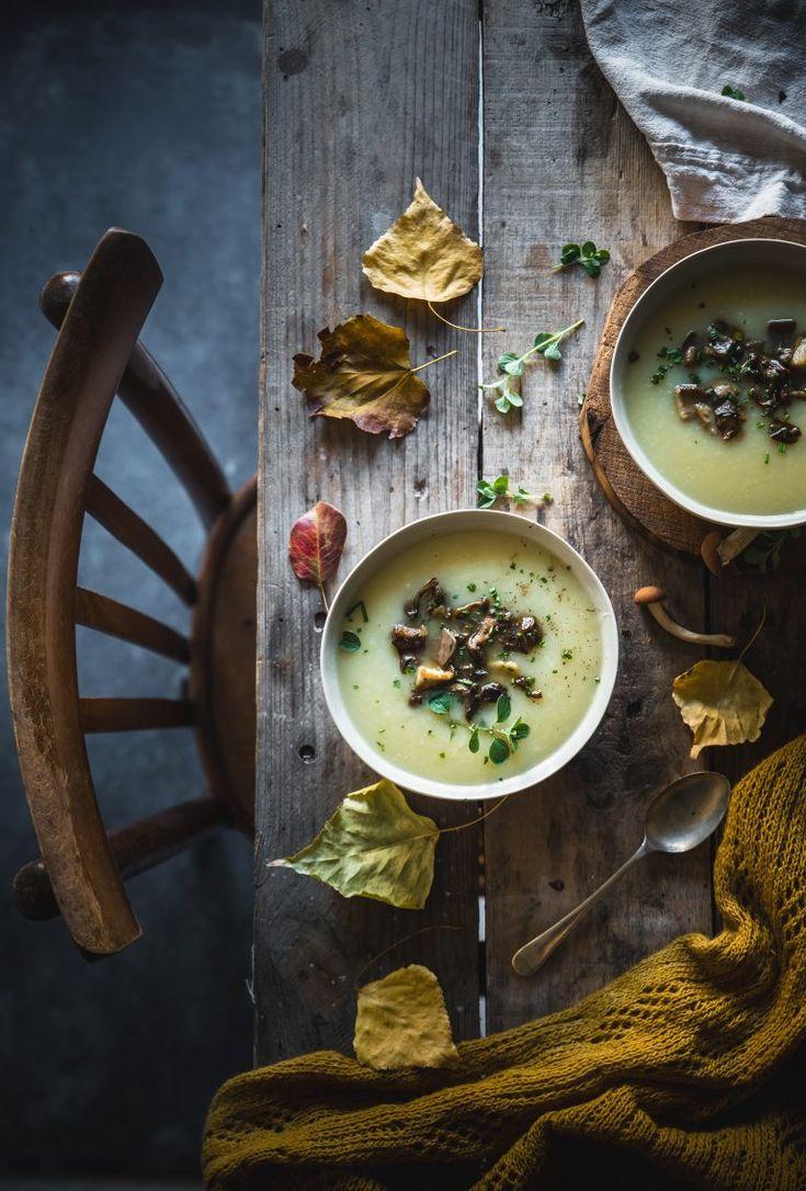 Zuppa di finocchi con funghi e tartufo/ Fennel soup with mushrooms and truffles