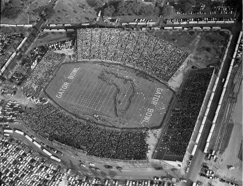 cool Aerial View of the Gator Bowl Stadium During Show at the 1954 Game Between Auburn University and Baylor University: Jacksonville, Florida