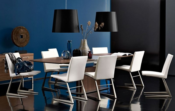 This dining room creates a great contrast between the blue wall and the sober colors of the furnitures