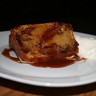 pumpkin bread french toast + bourbon caramel and chantilly cream