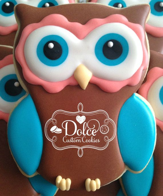 One Dozen Owl Decorated Sugar Cookies by DolceCustomCookies