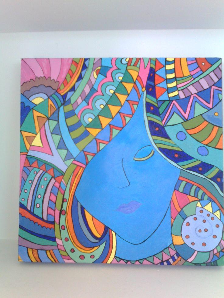 Painting by Marta Iglesias. Blu Laura. Hippy