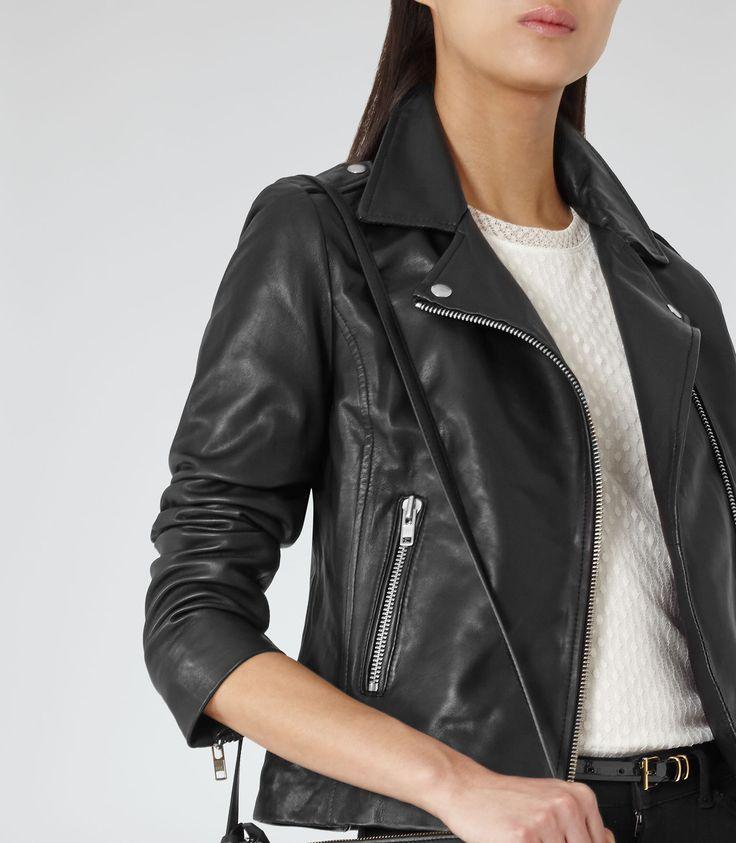 Womens Black Leather Biker Jacket - Reiss Virna
