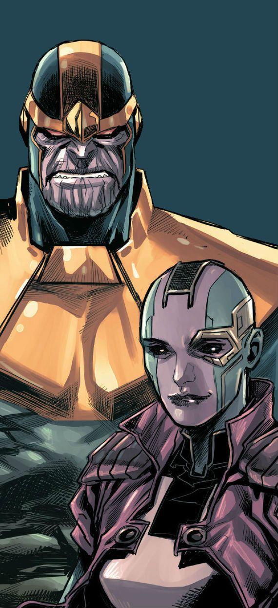 Thanos and Nebula by Marco Checchetto
