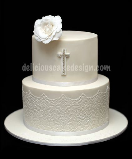 white and gold baptism cakes for girls - Google Search