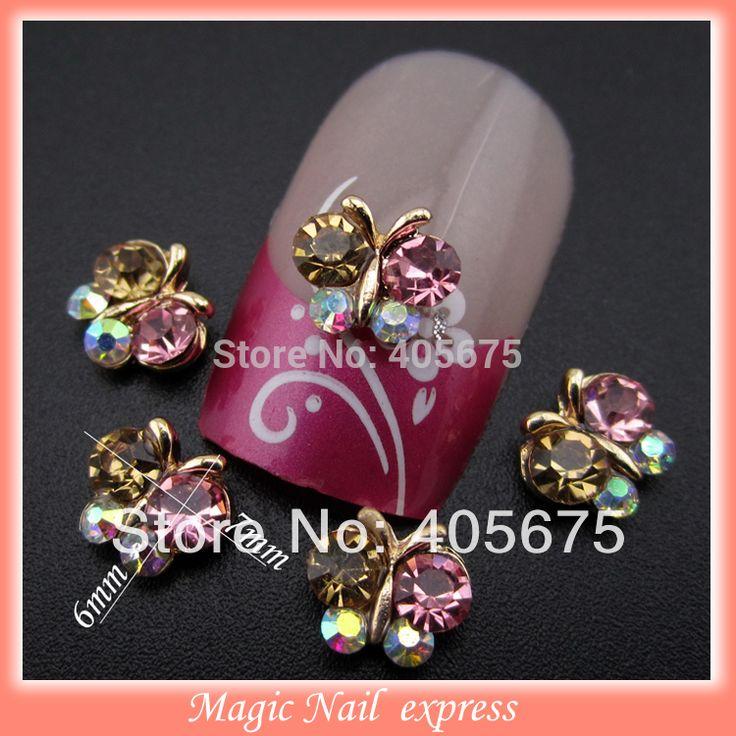 10pcs mix rhinestones butterfly for nails 3 designs glitter crystal nail art decorations 3d alloy nailart tools supplies MNS269