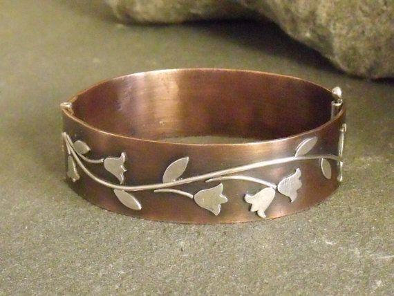 Copper and Sterling Hinged Bangle Bracelet by ElizabethsArtJewelry, $225.00