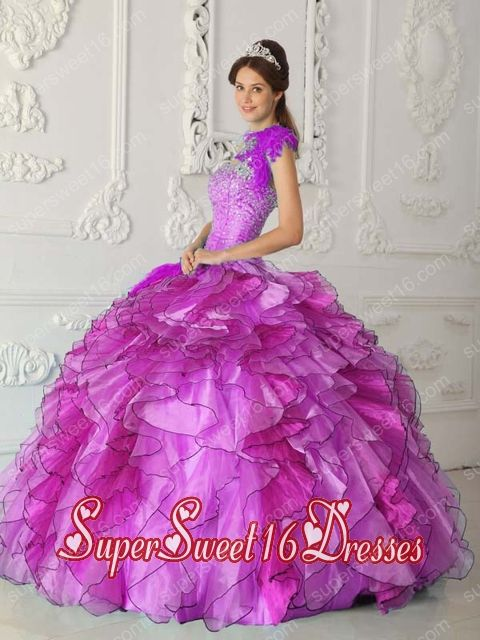 Fuchsia Ball Gown Strapless Appliques Satin and Organza Beading Sweet Fifteen Dress with Ruffled Layers