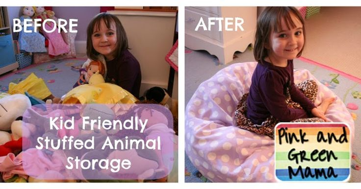 Our kid-friendly stuffed animal storage solution.    We went from this....to this!         I ordered a zippered bean bag slip cove...