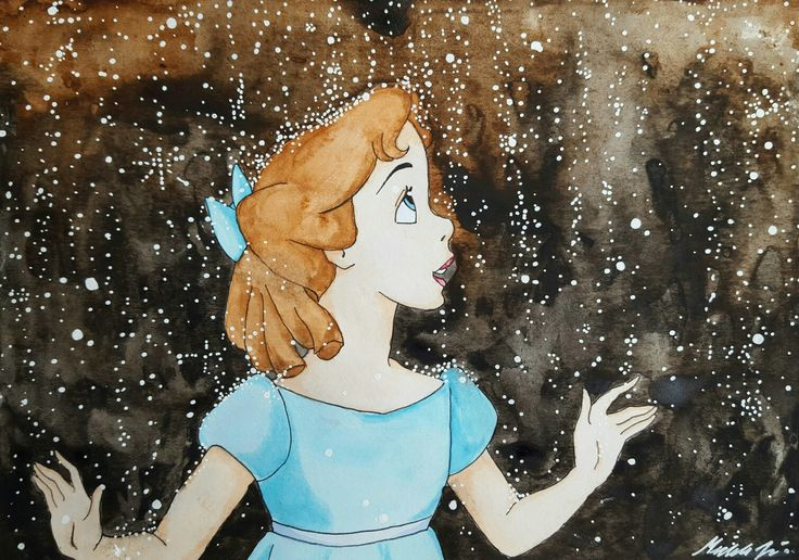 My watercolor of Wendy from Peter Pan